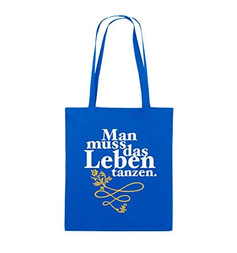 Comedy Bags - Man muss das Leben tanzen. - Jutebeutel - lange Henkel - 38x42cm - Farbe: Schwarz / Weiss-Hellblau Royalblau / Weiss-Gelb