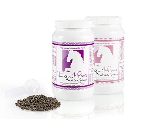 EquiMove Motion Gelenk Motion Sehne, je eine Dose (1,5 kg) in Spar-Kombination zur nutritiven Unterstützung des Gelenk- und Sehnenapparates mit Glucosamin, MSM, Metionin, Muschelextrakt und mehr