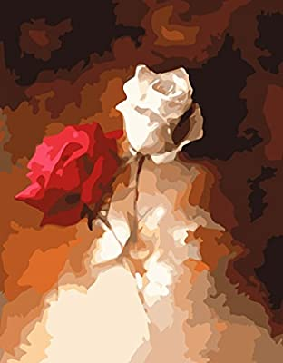[ Wooden Framed or not ] [ New Release ] Diy Oil Painting by Numbers, Paint by Number Kits - Fire Rose Blossom 16*20 inches - Digital Oil Painting Canvas Wall Art Artwork Landscape Paintings for Home Living Room Office Picture Decor Decorations Gifts - Di