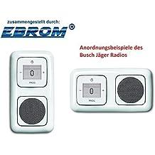 5 años de garantía con ebrom Busch Jäger Oculto hasta Bluetooth Radio (8217u) reflexsi BLANCO ALPINO SET COMPLETO Altavoz + Unidad De Radio 8217U + Cubiertas in 2 entrada Marco Integrado