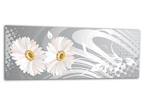 XXL verre d'impression / image tableaux FLORAL DESIGN WEIIß AG312500533 Wall deco 125 x 50 cm Deco Glass, Design & Handmade