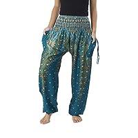 Lannaclothesdesign Women's Smocked Waist Peacock Print Harem Pants Hippie Bohemian Style (XL, Teal)