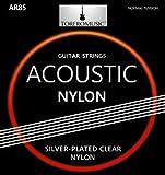 Gitarrensaiten Konzertgitarre ★ Premium Nylon Saiten für Akustikgitarre, Klassische Gitarre und Konzertgitarre (6-Saiten-Set), Versilbert (D4, A5, E6), inkl. 3 Plektren gratis
