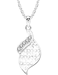 VK Jewels Well Crafted Leaf Rhodium Plated Alloy CZ American Diamond Pendant With Chain For Women [VKP2632R]