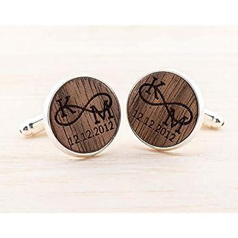 Personalisierte Manschettenknöpfe Holz, personalisiertes Geschenk für Ihn, gravierte Manschettenknöpfe, romantisches…