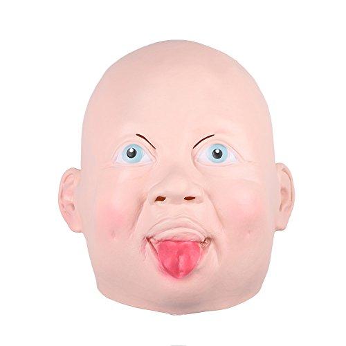 Kicode Gruselig Lächeln Schrei Baby Kopf Gesicht Latex Furchtsam Horror Maske für Halloween Party Kostüm Erwachsene Cosplay