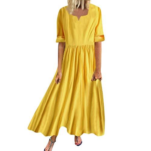 ZODOF Verano de Mujeres Vestido de Manga Larga Fiesta de una línea Suelta Vestido sólido Tops ibicencos Vestido Boho Vestido con Escote v Vestido de Fiesta Mujer Vestido de Lunares(Amarillo)