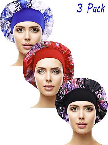 3 Stücke Satin Schlafmütze Elastisch Breit Band Hut Nacht Schlaf Kopfbedeckung für Schlafbedarf (Farbe Set ()