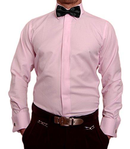 Paco Romano Slim Fit Smoking Hemd Rosa Struktur Schwarze Fliege New Kent Kragen Langarm Größe M 39