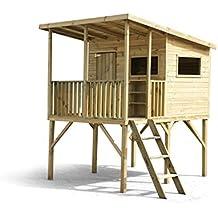 Stelzenhaus Robinson- Spielturm Holz für den Garten, FSC zertifieziert/ TÜV geprüft inkl. Dachpappe
