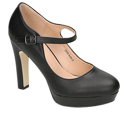 Klassische Mary Janes (Klassische Trendige Damen Mary Jane Riemchen Pumps Stilettos Party High Heels Plateau Schuhe Bequem 20 (36, Schwarz))