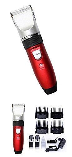 Akku Profi Haarschneider - Haarschneider - Haarschneidemaschine, titanbeschicheteter Edelstahlscherkopf mit 4 Aufsätzen ideal für Friseur Salon oder privaten Gebrauch - leiser aber starker Motor als Set Netz und Akkubetrieb …
