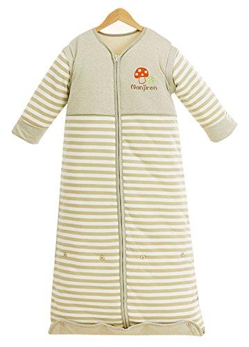 Chilsuessy Winter 2.5 Tog Kinder Schlafsack mit abnehmbaren Ärmeln Bio Babyschlafsack für Jungen und Mädchen von 1 bis 10 Jahre alt, Gruen, XL/Koerpergroesse 120-160cm
