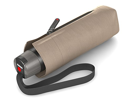 Knirps T.010 Taschenschirm Manual Solids Taupe mit UV-Schutz - inkl. Futteral im Schirmdesign - kleines Packmaß - Easy Handling - 100% Polyester - Windkanal getestet - robust, kompakt&komfortabel