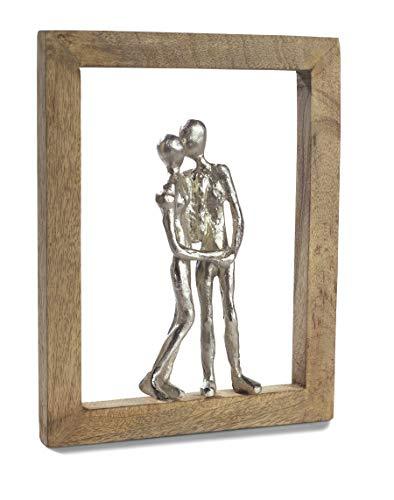 Moritz Skulptur Rahmen ich Liebe Dich Mangoholz/Alu massiver Mangoholz - Rahmen Handarbeit 23,5 x 30,5 cm