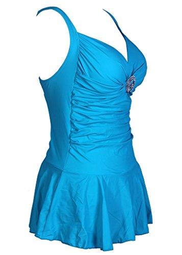 Figurformender V Ausschnitt Badeanzug mit Röckchen einteiliger Damen Schwimmanzug Bauchweg Bademode Größe Größen Badekleid Blau