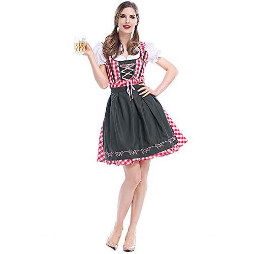 Hallowmax Damen Trachtenkleid Oktoberfest Munich Tracht Karneval Kostüm Schleife Schick Elegant Gitter