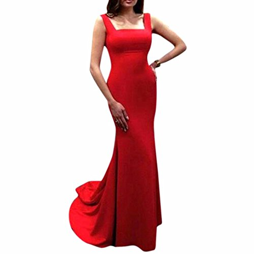 QIYUN.Z Rouge Maxi Robe De Mariage Robe Moulante Longue Queue De Poisson Femmes Soirée Cocktail Rouge