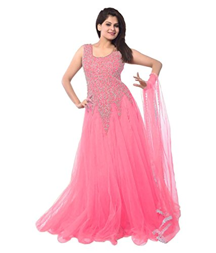 KFHub Women's New Low Price Below 500 rupees Collection Anarkali Gowns Pink...