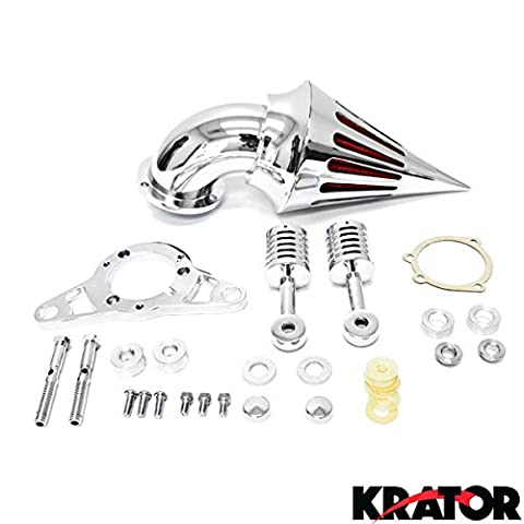 Krator® Harley Davidson Softail Night Train Fat Boy Dyna Super Glide Low Rider Wide Glide Touring Road King Road Glide Chrome Aluminum Cone Spike Air Cleaner Kit Intake Filter Motorcycle (2001-2009) by Krator
