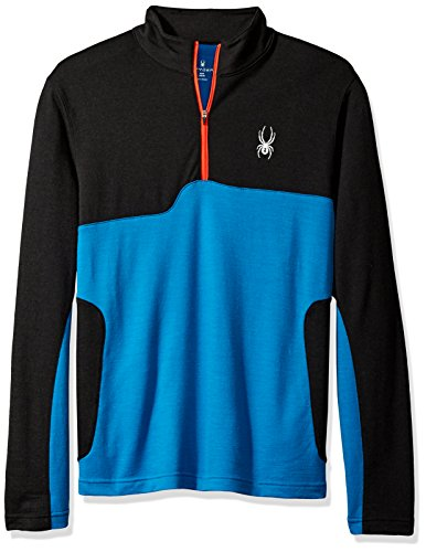 Spyder Herren Pinnacle Merino 1/4Zip Baselayer Top, Herren, Black/French Blue/Burst Terry Zip Front Jacket