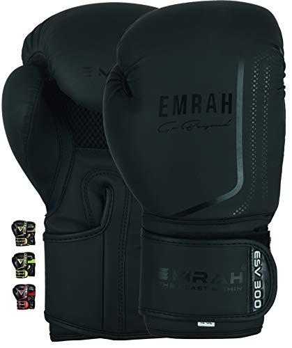 EMRAH ESV-300 Guantes de Boxeo Muay Thai Training DX Hide Leather Sparring Sacos de Boxeo Mitones Kickboxing Lucha (Negro Mate, 16 oz)