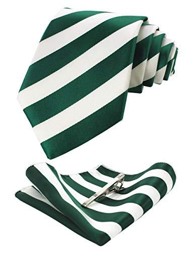 JEMYGINS Grün Krawatten und Einstecktuch Set für Herren seide Krawatte Diagonale Streifen Krawatte krawattenklammer Seidenkrawatten Hochzeit Schlips (4) - Streifen Krawatte