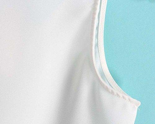 Femme Débardeur Veste Hauts Dentelle Sans Manche Col Rond T-Shirt Gilet Blanc