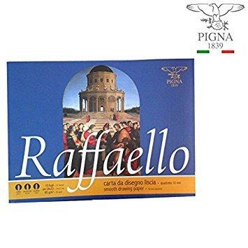 Takestop® set 2 raffaello pigna album da disegno foglio f2 liscio riquadrato squadrato 24x33cm 10 fogli ciascuno 80 g/m