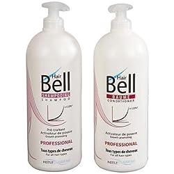 Hairbell PRO Kit Shampoing 1000 ml + Baume 1000 ml accélerateur de pousse de cheveux