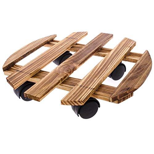 SIDCO 1 x Pflanzenroller Holz Blumenroller Roller Pflanzenuntersetzer rund Transportroller