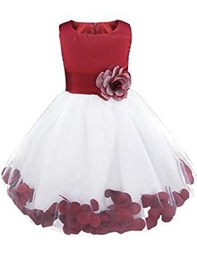 YiZYiF Kinder Mädchen Kleid mit Blütenblätter Festlich Prinzessin Kleid Partykleid Hochzeit Festzug Brautjungfer...