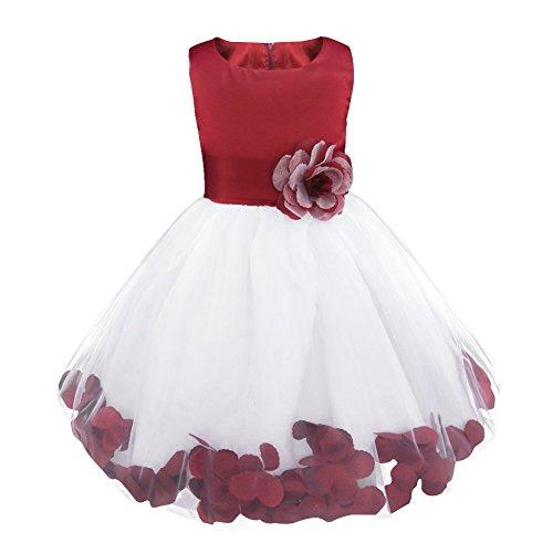iEFiEL Robe Demoiselle d'Honneur Filles Pétales Noeud Fleur pour Enfant -  (11-12 ans, Vin rouge)