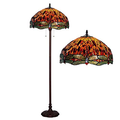 , 18-Zoll-rote Libelle Tiffany Stil Bodenlampe mit gestopftem Glas Lampenschirm, Contemporary Bright Reading Lampe für Wohnzimmer, Büro, E27 40W ()