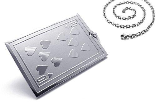 Männer Edelstahl Herren Halskette Spiel-Karte Herz Zehn 10 Poker Skat Black Jack Card Karten Geschenk für den Freund / Mann (Spielkarte Spiele)