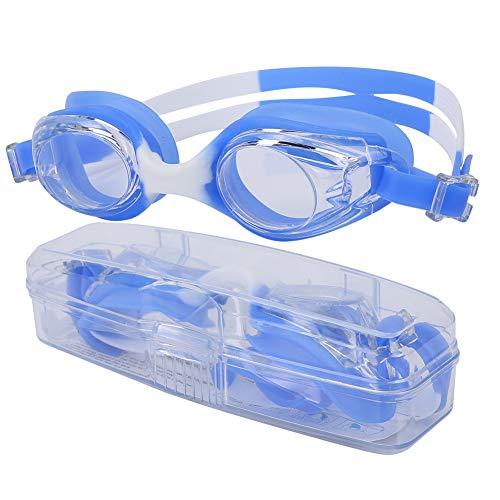 Tbest Kinder Schwimmbrille HD Anti-Fog UV Schwimmbrille Brille Schwimmzubehör Open Water Schwimmmaske für Kinder Jungen und Mädchen(Blau Weiss)