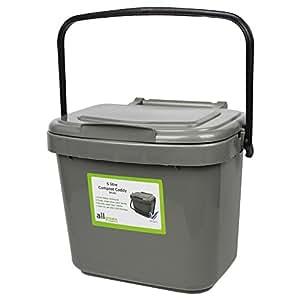 all green 5 litre plastic kitchen compost caddy silver. Black Bedroom Furniture Sets. Home Design Ideas