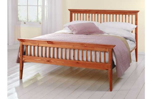 Comfy Living Double Wooden Bed Frame Caramel Mattress 4ft6in Shaker Tanya