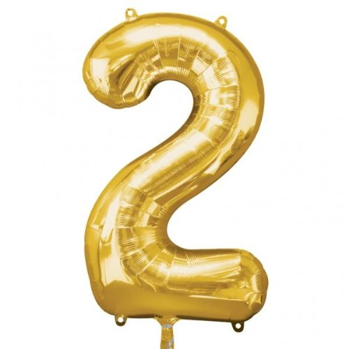 8cm Nummer 2Super Shape Folienballon, Gold (Forever 21 Halloween)