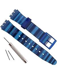 OliBoPo - Correa de repuesto de silicona para reloj, resistente al agua (17 mm, 19 mm y 20 mm) (19 mm, azul gradiente)