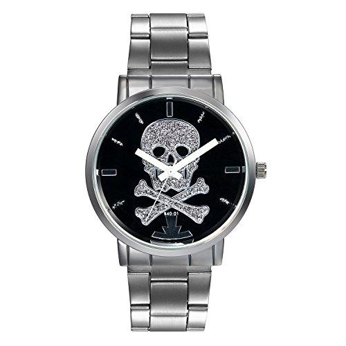 Hombre Acero Inoxidable Plata Casual Relojes, Skull Patrón Punk Rock Lactancia Reloj de pulsera con esfera negro