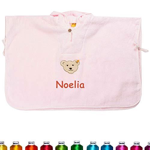Steiff Poncho bestickt mit Namen für Baby & Kinder, Rosa, Mädchen Badetuch, Bade-Poncho, Kapuzenbadetuch, Handtuch mit Kapuze, Mädchen & Junge (Unisex) Bademantel, 100% Baumwolle, Weiß