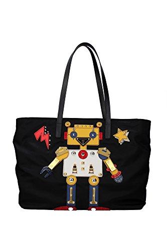 Prada Schultertasche Nylon Damen Tasche Umhängetasche Bag robot Schwarz (Damen Prada Tasche)