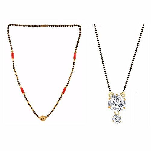 Efulgenz Indian Jewelry Bollywood Ethnischen Stylisches Combo von Mangalsutra für Frauen (Halskette-ohrring-combo)