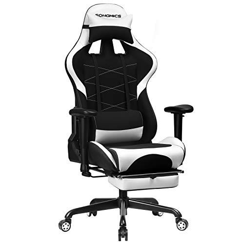 SONGMICS Gaming Stuhl mit Fußstütze, 150 kg, Bürostuhl, Schreibtischstuhl, Lendenkissen, Kopfkissen, hohe Rückenlehne, ergonomisch, Stahl, Kunstleder, atmungsaktives Meshgewebe, schwarz-weiß RCG52BW - Hohe Rückenlehne Ergonomischer Stuhl