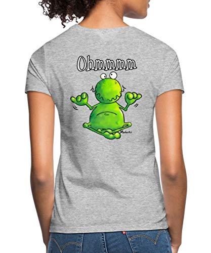 Yoga Frosch Frauen T-Shirt, L (40), Grau meliert