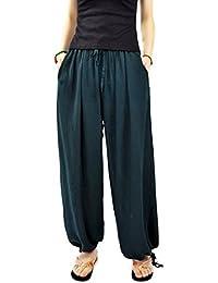 Aivtalk - Pantalon Harme Yogqa Femme Élastique - Pantalons Jambes Larges en Lin - Pantalons Eté Casual