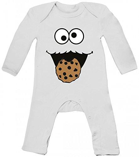 Strampler Kostüm Nerd Baby - Fasching Karneval Kostüm Baby Strampler Langarm Schlafanzug Jungen Mädchen Blue Monster Premium, Größe: 6-12 Monate,White