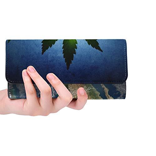 Einzigartige benutzerdefinierte Cannabis hat World Earth Image Frauen Trifold Wallet Lange Geldbörse Kreditkarteninhaber Fall Handtasche erfasst - Benutzerdefinierte Handtaschen Aus Leder