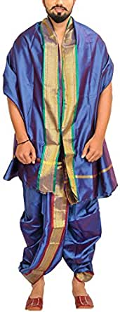 Exotic India Men's Ready to Wear Dhoti and Veshti Set with Woven Golden Border - Color Dazzling BlueGarment Size Free Size